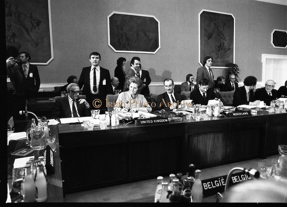 EEC Leaders Meet At Dublin Castle.   (N4)..1979..29.11.1979..11.29.1979..29th November 1979..At Dublin Castle the leaders of the countries within the EEC held a summit conference to discuss issues which would affect the EEC over the forthcoming years..Pictured at the Dublin Summit, From left, Lord Carrington,U K Foreign Affairs,Mrs Margaret Thatcher,U K Prime Minister, Dr C A van der Klaauw, Netherland Foreign Minister,Mr A A M van Agt, Netherland Prime Minister, Mr Gaston Thorn, Luxembourg Foreign Minister and Mr Pierre Werner, Luxembourg Prime Minister.