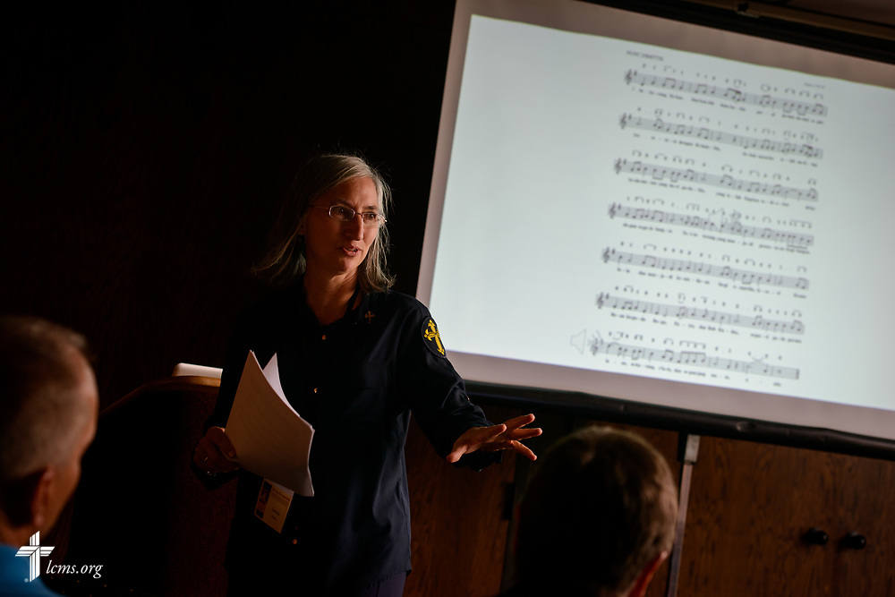 Deaconess Sandra Rhein leads a workshop during the 2017 Institute on Liturgy, Preaching and Church Music on Tuesday, July 25, 2017, at Concordia University Chicago in River Forest, Ill. LCMS Communications/Erik M. Lunsford