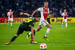 14-08-2018 NED: Champions League AFC Ajax - Standard de Liege, Amsterdam<br /> Third Qualifying Round,  3-0 victory Ajax during the UEFA Champions League match between Ajax v Standard Luik at the Johan Cruijff Arena / Noussair Mazraoui #12 of Ajax