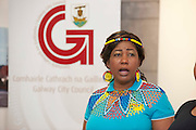 21/05/2013 Repro free. Miriam Dike from Ladies of the South Choir at the launch of Africa Day 2013 at Galway City Museum by Galway City Council and Irish Aid  . ..Africa Day falls on 25th May each year, with events taking place around the country from 20th-27th May. It is an initiative of the African Union, and aims to celebrate African diversity and success and the cultural and economic potential of the continent. In Ireland, events to mark Africa Day are supported by Irish Aid, the Government's programme for overseas development and Galway City Council...The events planned by Galway City Council will take place on 21st May and from 24th to 26th May. Galway City Council are launching Africa Day 2013 by Mayor of Galway City Cllr Terry O'Flaherty on Tuesday 21stMay @ 11:00 a.m.at the Galway City Museum with inputs from the African Ambassadors Network, Africian Film Festival, NUIG and music by South Africian Choirs. Picture:Andrew Downes