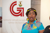 21/05/2013 Repro free. Miriam Dike from Ladies of the South Choir at the launch of Africa Day 2013 at Galway City Museum by Galway City Council and Irish Aid  . ..Africa Day falls on 25th May each year, with events taking place around the country from 20th-27th May.  It is an initiative of the African Union, and aims to celebrate African diversity and success and the cultural and economic potential of the continent.  In Ireland, events to mark Africa Day are supported by Irish Aid, the Government's programme for overseas development and Galway City Council.. .The events planned by Galway City Council will take place on 21st May and from 24th to 26th May.  Galway City Council are launching Africa Day 2013 by Mayor of Galway City Cllr Terry O'Flaherty on Tuesday 21st May @ 11:00 a.m.at the Galway City Museum with inputs from the African Ambassadors Network, Africian Film Festival, NUIG and music by South Africian Choirs. Picture:Andrew Downes