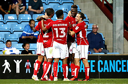 Tammy Abraham of Bristol City celebrates with teammates after scoring a goal against Scunthorpe United - Mandatory by-line: Robbie Stephenson/JMP - 23/08/2016 - FOOTBALL - Glanford Park - Scunthorpe, England - Scunthorpe United v Bristol City - EFL Cup second round
