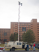 2012/03/16 - News crews arrive at RIT after word surfaced that a person carrying a rifle had been spotted on campus. After about 90 minutes, police announced that an umbrella had been mistaken for a rifle.