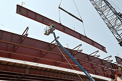 Pearl Harbor Memorial Bridge, New Haven Harbor Crossing Corridor. CT DOT Contract B1 Project No. 92-618 Progress Photography. Northbound West Approaches. Sixth on site photo capture of once every four month chronological documentation. Steel Girder Pick, Ramp O.