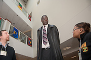 18069Mr. Manute Bol, Founder os the Ring Foundation, and former NBA player visting the Sports in Africa Annual Conference..Winsome Chunnu(glasses), Matt Kirwin(Beard),