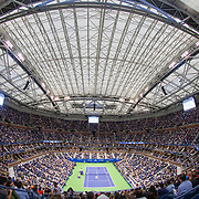 2019 US Open Tennis Tournament- Day Twelve. A panoramic view of Danill Medvedev of Russia in action against Grigor Dimitrov of Bulgaria in the Men's Singles Semi-Finals match on Arthur Ashe Stadium with the roof closed during the 2019 US Open Tennis Tournament at the USTA Billie Jean King National Tennis Center on September 6th, 2019 in Flushing, Queens, New York City.  (Photo by Tim Clayton/Corbis via Getty Images)