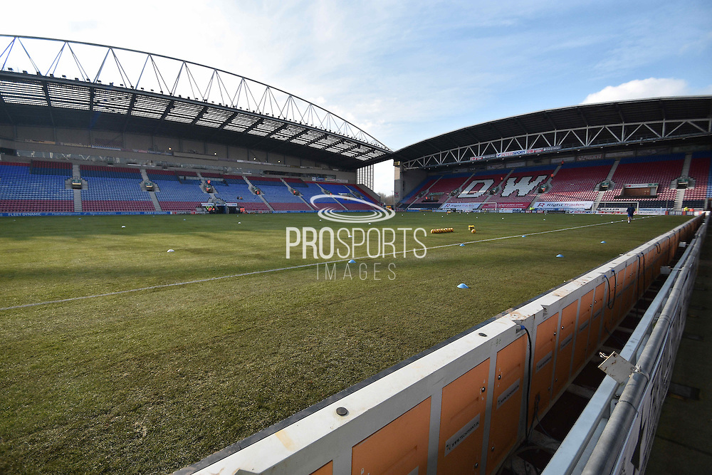 Wigan Athletic newly laid pitch is ready for action before the Sky Bet League 1 match between Wigan Athletic and Oldham Athletic at the DW Stadium, Wigan, England on 13 February 2016. Photo by Mark Pollitt.