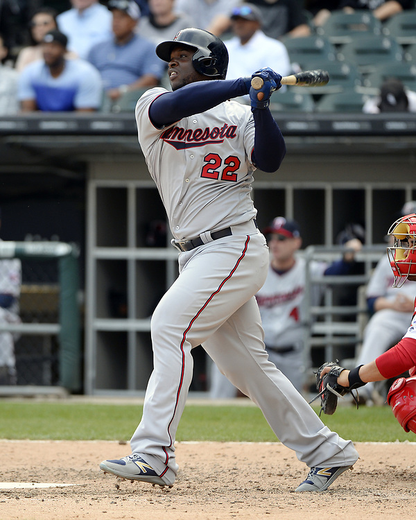 CHICAGO - APRIL 09:  Miguel Sano #22 of the Minnesota Twins bats against the Chicago White Sox on April 9, 2017 at Guaranteed Rate Field in Chicago, Illinois.  (Photo by Ron Vesely)   Subject:  Miguel Sano