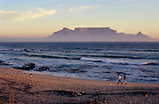 Sunset view towards Table Mountain from Bloubergstrand.