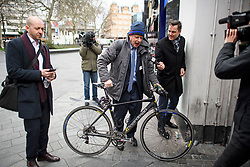 © Licensed to London News Pictures. 13/03/2019. London, UK. BORIS JOHNSON MP is seen talking to media while leaving the studio of LBC following a radio phone in, the day after MPs voted to reject the PMs Brexit deal. Parliament Voted by a majority of 149 against the Prime Ministers deal, with a new vote on 'No Deal' being held this evening. Photo credit: Ben Cawthra/LNP