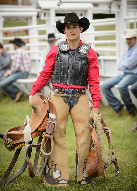 Kaila Mussell, the only female professional bronco rider at the Falkland Stampede.