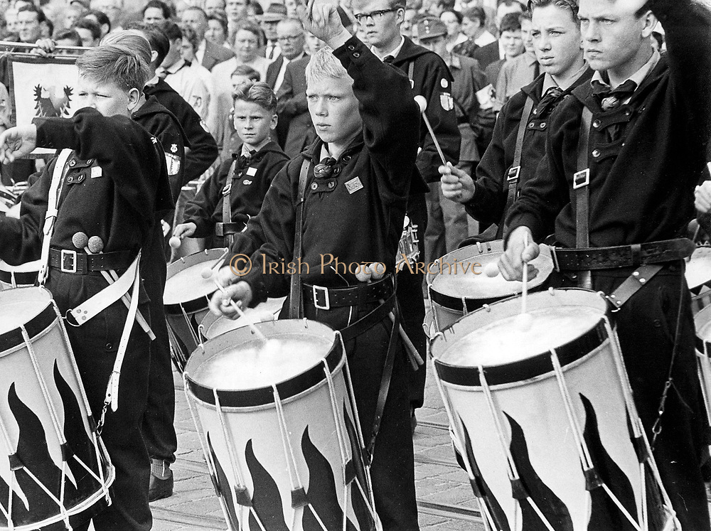 Hitlert Youth at a Nuremberg rally: mass band of boy drummers, c1936.