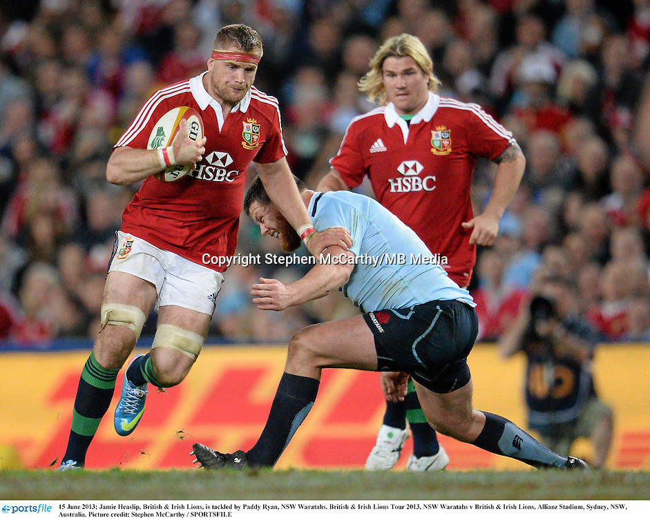 15 June 2013; Jamie Heaslip, British & Irish Lions, is tackled by Paddy Ryan, NSW Waratahs. British & Irish Lions Tour 2013, NSW Waratahs v British & Irish Lions, Allianz Stadium, Sydney, NSW, Australia. Picture credit: Stephen McCarthy / SPORTSFILE