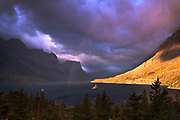 Rainbow over Wild Goose Island, Glacier National Park.