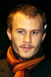 Nov 12, 2002 - London, UK - HEATH LEDGER at the screening of The Four Feathers at  the Odeon West End, London. The Australian actor wore a colourful scarf and a casually placed cigarette behind his ear. (Credit Image: © Axel/ZUMAPRESS.com)