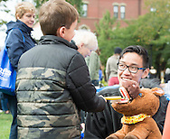 Tufts Dental School students taught children how to properly brush teeth by using special puppets at Community Day on Oct. 4, 2015.<br /> &copy;2015 Evan Sayles (evansayles.com)