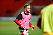 James Coppinger of Doncaster Rovers warming up before the EFL Sky Bet League 1 match between Doncaster Rovers and Bristol Rovers at the Keepmoat Stadium, Doncaster, England on 26 March 2019.