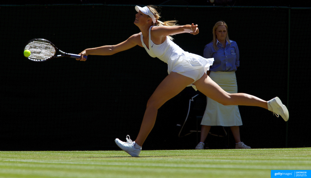 Maria Sharapova, Russia, in action against Gisela Dulko, Argentina at the All England Lawn Tennis Championships at Wimbledon, London, England on Wednesday, June 24, 2009. Photo Tim Clayton.
