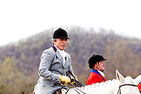 Rita Mae Brown leads the other riders during the fox hunt at Tea-Time Farm in Afton, VA on March 30, 2010..CREDIT: Stephen Voss for The Wall Street Journal.BROWN