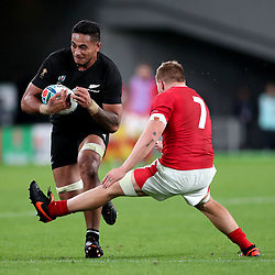 Shannon Frizell - New Zealand flanker is on the receiving end of an unorthadox tackle by Wales flanker James Davies.<br /> New Zealand v Wales, Rugby World Cup, Bronze Final, Tokyo Stadium, Tokyo, Japan, Saturday 1st November 2019. ***Please credit: Fotosport/David Gibson***