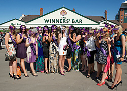 LIVERPOOL, ENGLAND, Thursday, April 7, 2011: Bride to be Kirsty from Wrexham with her hen partie during Ladies' Day on Day Two of the Aintree Grand National Festival at Aintree Racecourse. (Photo by David Rawcliffe/Propaganda)