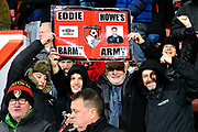 Bournemouth fans with a sign about Eddie Howe during the EFL Cup 4th round match between Bournemouth and Norwich City at the Vitality Stadium, Bournemouth, England on 30 October 2018.