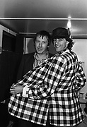 Lee Brilleaux and Bob Geldof - backstage caravan at Scotfest 1979