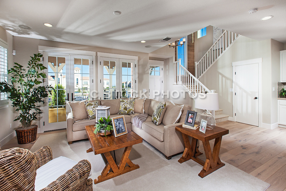 Light Colored Living Room with French Doors