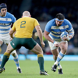 Ramiro Herrera of Argentina runs at Stephen Moore of Australia during the The Rugby Championship match between Argentina and Australia at Twickenham Stadium, Twickenham - 08/10/2016<br />