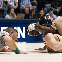 February 23, 2014; State College, PA, USA; Penn State's Ed Ruth pins Clarion's Dustin Conti at 1:04 in his final match at Rec Hall. Penn State defeated Clarion 43-3.
