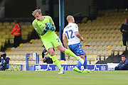 Southend United goalkeeper Christian Walton (21) saves from Bury attacker James Vaughan (12) during the EFL Sky Bet League 1 match between Southend United and Bury at Roots Hall, Southend, England on 30 April 2017. Photo by Matthew Redman.