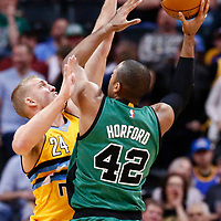 10 March 2017: Denver Nuggets center Mason Plumlee (24) defends on Boston Celtics center Al Horford (42) during the Denver Nuggets 119-99 victory over the Boston Celtics, at the Pepsi Center, Denver, Colorado, USA.