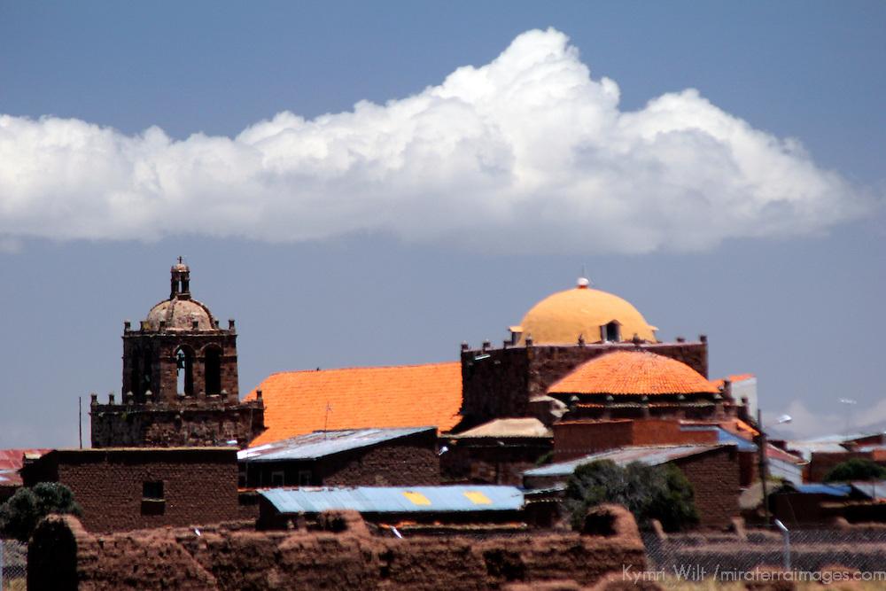South America, Bolivia, Tiwanaku. Church in the town of Tiwanaku.