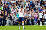 Tottenham Hotspur forward Heung-Min Son (7) celebrates at full time during the Premier League match between Tottenham Hotspur and Crystal Palace at Tottenham Hotspur Stadium, London, United Kingdom on 14 September 2019.