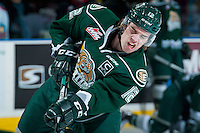 KELOWNA, CANADA - JANUARY 08: Dawson Leedahl #12 of Everett Silvertips warms up against the Kelowna Rockets on January 8, 2016 at Prospera Place in Kelowna, British Columbia, Canada.  (Photo by Marissa Baecker/Shoot the Breeze)  *** Local Caption *** Dawson Leedahl;