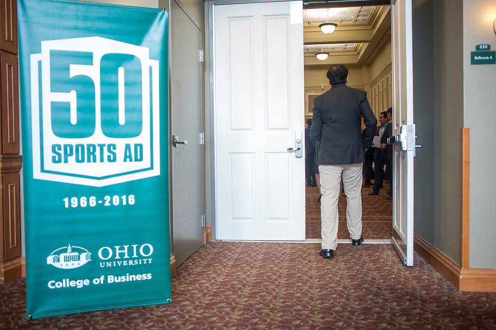 College of Business students mingle and talk with possible employers in the sports industry at the Career Fair in Baker Ballroom on October 13, 2016.