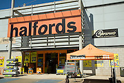 Halfords shop, Sudbury, Suffolk, England