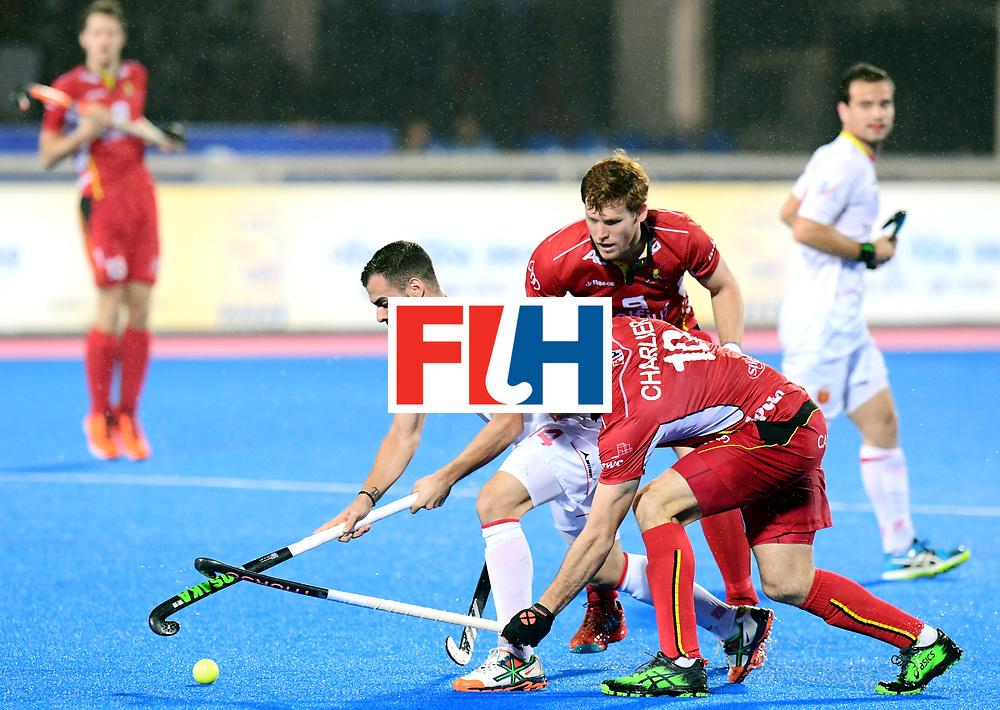 Odisha Men's Hockey World League Final Bhubaneswar 2017<br /> Match id:18<br /> Belgium v Spain<br /> Foto: Ricardo Santana (Esp) and Cedric Charlier (Bel) <br /> COPYRIGHT WORLDSPORTPICS FRANK UIJLENBROEK