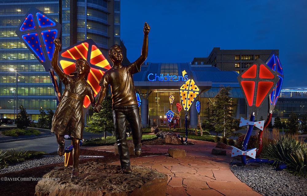 Children's Hospital in Oklahoma City photographed by David Cobb Photography, Architect Miles and Associates,Bronze Statue Artist Matthew Placzek
