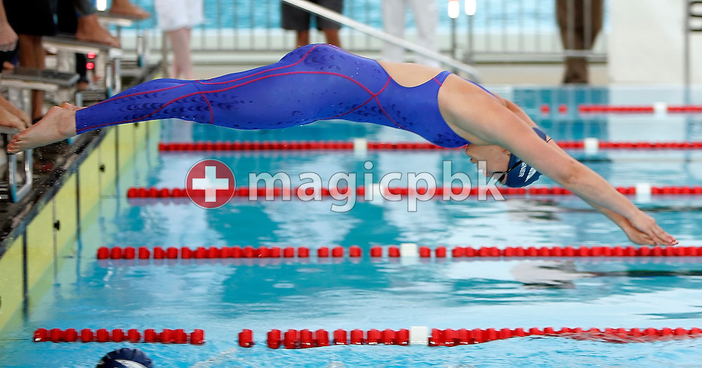 Senata Wagner of Switzerland starts for the butterfly leg in the women's 4 x 100m medley relay timed final heat in the Schwimmbad Arbon at the Swimming Swiss Summer Championships in Arbon, Switzerland, Saturday, July 21, 2007. (Photo by Patrick B. Kraemer / MAGICPBK)