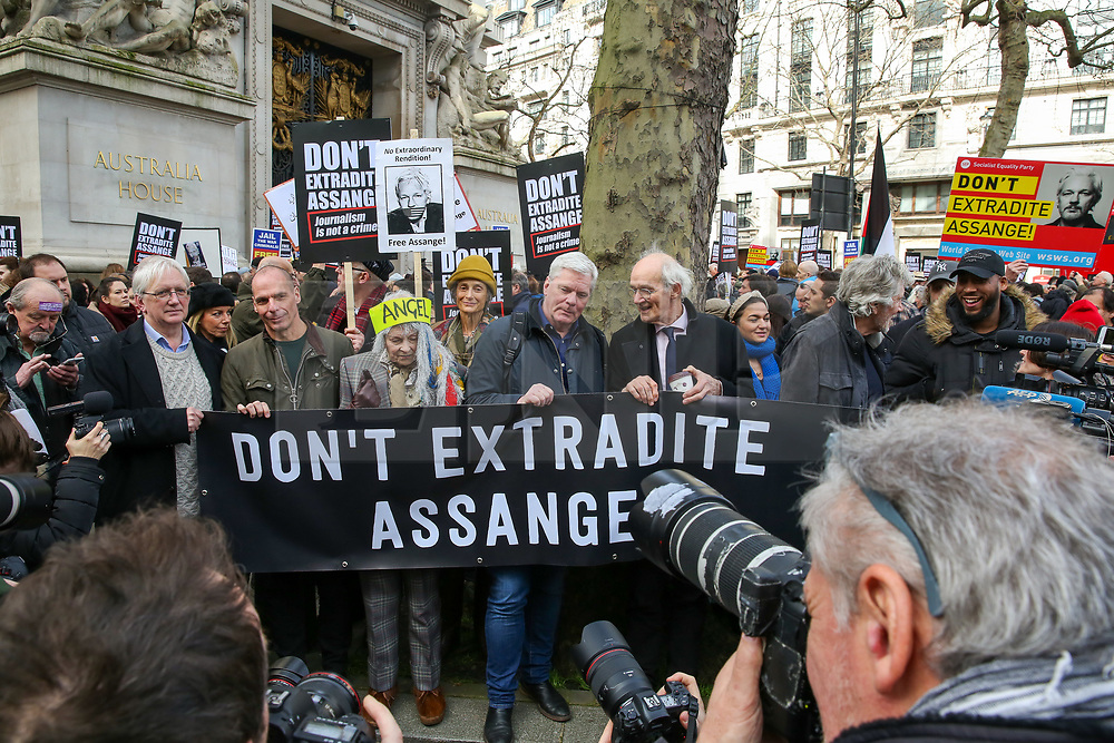 © Licensed to London News Pictures. 22/02/2020. London, UK. VIVIENNE WESTWOOD, British fashion designer, JOHN SHIPTON, JULIAN ASSANGE'S father and ROGER WALTER, PINK FLOYD founder joins campaigners for Wikileaks founder JULIAN ASSANGE during a rally outside Australia House, Strand, demanding that ASSANGE should not be extradited to the USA. JULIAN ASSANGE faces 18 charges in the United States including conspiring to hack government computers and violating an espionage law. His extradition trial begins at Woolwich Crown Court on Monday, 24 February 2020. Photo credit: Dinendra Haria/LNP
