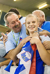 Barbara Varlec Lazovic with fans after the handball match between Women National teams of Slovenia and Serbia in 2nd Round of Qualifications for 2014 EHF European Championship on October 27, 2013 in Hala Tivoli, Ljubljana, Slovenia. Slovenia defeated Serbia 31-26. (Photo by Vid Ponikvar / Sportida)