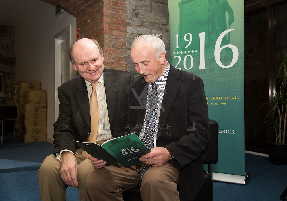 27.01.2016<br /> The Limerick City Library kicked off its series of lectures to mark the centenary of the 1916 Rising with a talk by Tom Toomey, author of the acclaimed 'The War of Independence in Limerick'.<br /> Attending the event were, Damien Brady and Tom Toomey. Picture: Alan Place