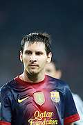 Lionel Messi reflects. Barcelona v Real Madrid, Supercopa first leg, Camp Nou, Barcelona, 23rd August 2012...Credit - Eoin Mundow/Cleva Media