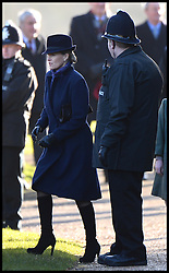 The Countess of Wessex and her Daughter Lady Louise Windsor joins the The Queen as they attend Church on the Sandringham estate, Sandringham, Norfolk, United Kingdom. Sunday, 29th December 2013. Picture by Andrew Parsons / i-Images