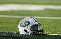 Sept 19, 2011; East Rutherford, NJ, USA; A New York Jets helmet lies on the turf during the pre-game warmup at the New Meadowlands Stadium.