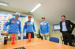Rok Perko, Andrej Sporn, Andrej Jerman and Primoz Ulaga during press conference of Slovenian Ski Association - SZS R. Perko placed second at ski downhill in Val Gardena (ITA), on December 18, 2012 in Ljubljana, Slovenia. (Photo By Vid Ponikvar / Sportida.com)