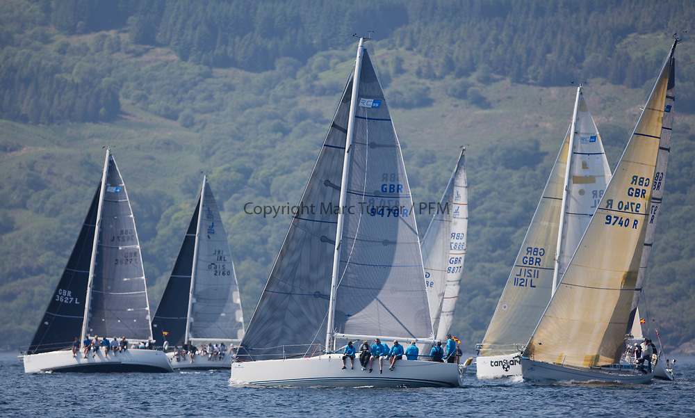 Silvers Marine Scottish Series 2017<br /> Tarbert Loch Fyne - Sailing<br /> <br /> RC35 Fleet with GBR9470R, Banshee, Charlie Frize, CCC, Corby 33.<br /> <br /> Credit Marc Turner / PFM