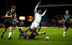 Edward Nketiah of England is fouled by Alfons Amade of Germany Under 19s - Mandatory by-line: Robbie Stephenson/JMP - 05/09/2017 - FOOTBALL - One Call Stadium - Mansfield, United Kingdom - England U19 v Germany U19 - International Friendly