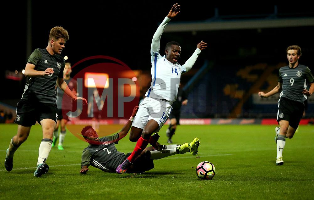 Edward Nketiah of England is fouled by Alfons Amade of Germany Under 19s - Mandatory by-line: Robbie Stephenson/JMP - 05/09/2017 - FOOTBALL - One Call Stadium - Mansfield, United Kingdom - England U19 v Germany U19 - International Friendly